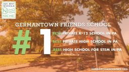 GFS Ranked #1 Best Private High School in PA